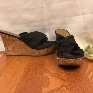 Dana Buchanan 7 Cork wedge denim stud sandals